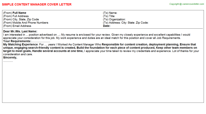 Content Manager Cover Letter Template