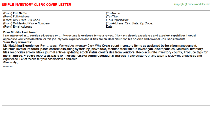 Inventory Clerk Cover Letter Template
