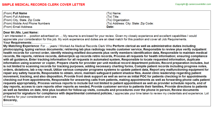 Medical Records Clerk Cover Letter Template