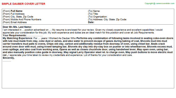Dauber Cover Letter Template