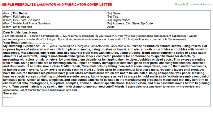Fiberglass Laminator And Fabricator Job Cover Letters Examples