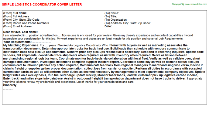 Logistics Coordinator Job Cover Letter Template