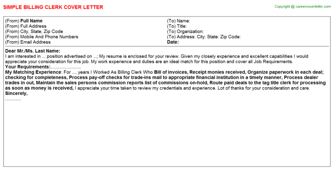 Billing Clerk Job Cover Letter (#25971)