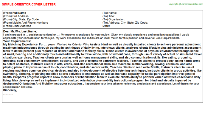 Orientor Cover Letter Template