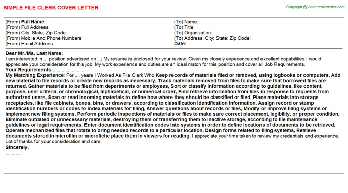 File Clerk Job Cover Letter Template