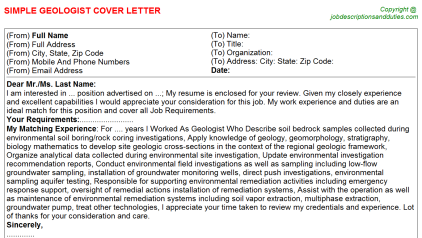 Geologist Job Cover Letter Template