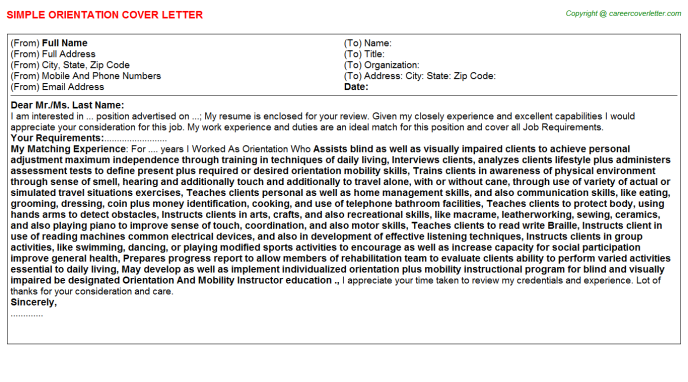 Orientation Cover Letter Template