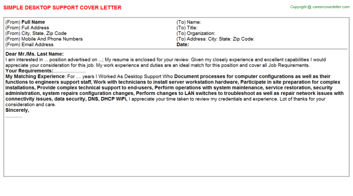 Desktop Support Cover Letter Template