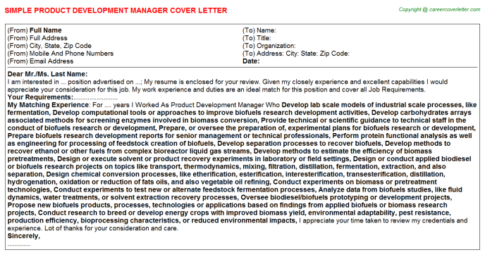 Product Development Manager Cover Letter Template