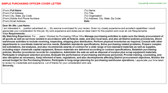 Purchasing Officer Cover Letter Template
