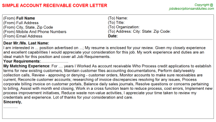 Account Receivable Job Cover Letter Template