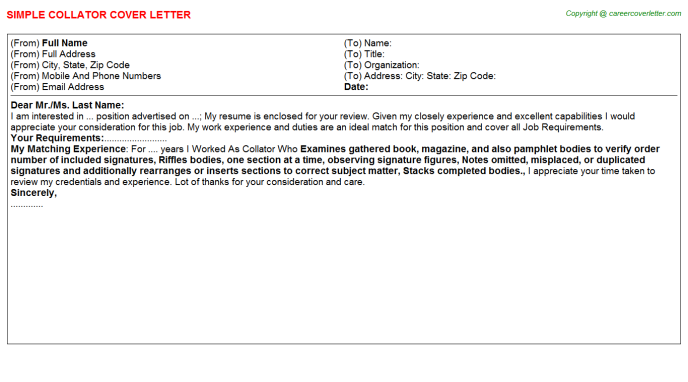 Collator Cover Letter Template