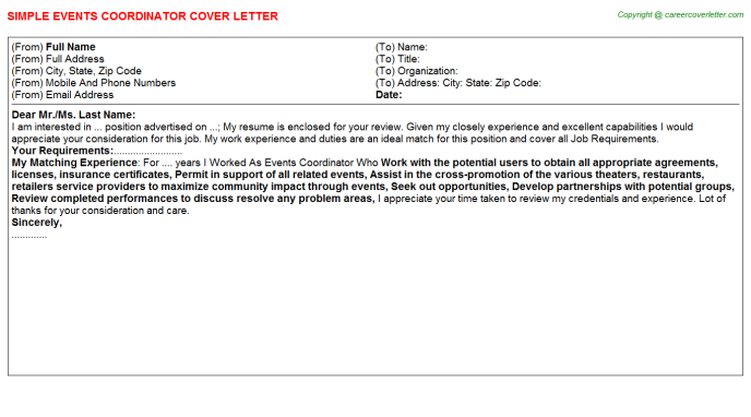 Events Coordinator Cover Letter Template