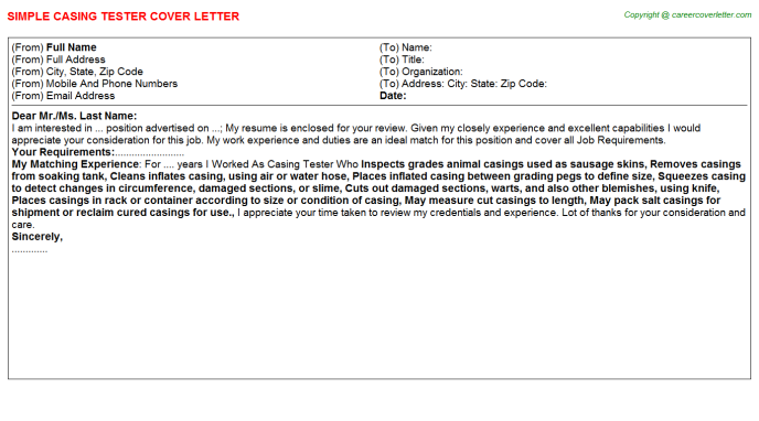 casing tester cover letter template