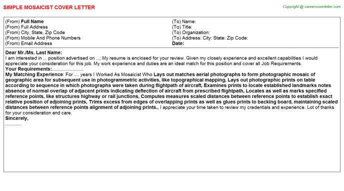 Mosaicist Job Cover Letter Template