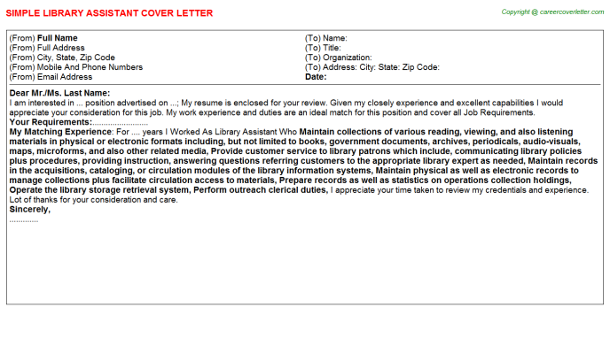 Library Assistant Job Cover Letter Template