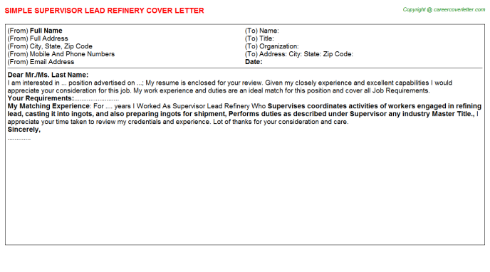 Supervisor Lead Refinery Cover Letter Template