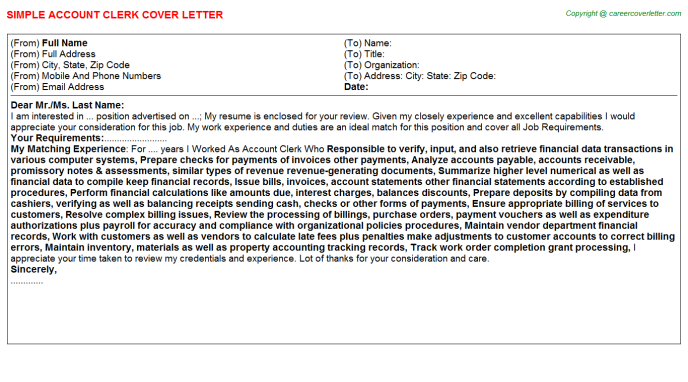 Account Clerk Cover Letter Template