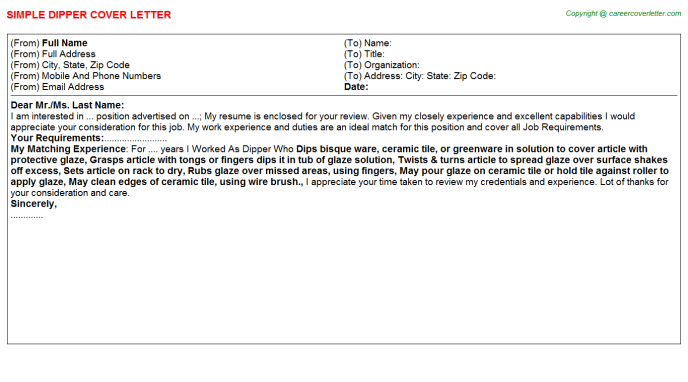 Dipper Cover Letter Template
