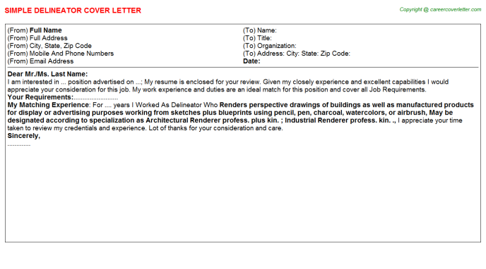 Delineator Cover Letter Template