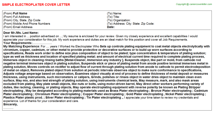 Electroplater Job Cover Letter Template