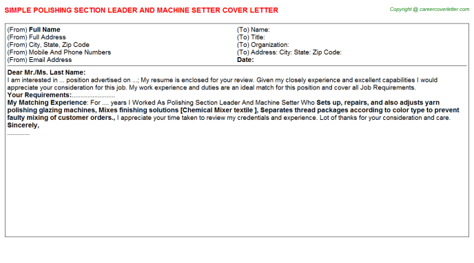 Polishing Section Leader And Machine Setter Job Cover Letter
