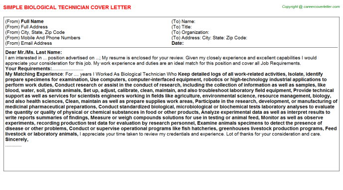 Biological Technician Cover Letter Template