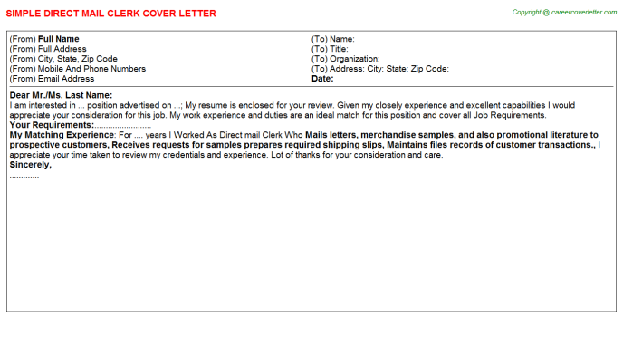 Direct Mail Clerk Cover Letter Template