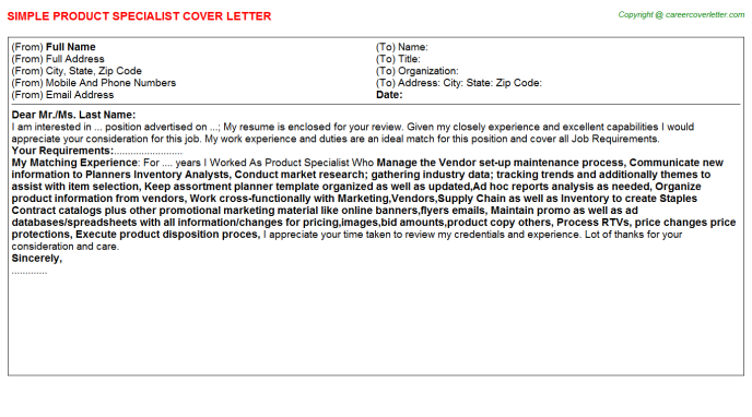 Product Specialist Cover Letter Template
