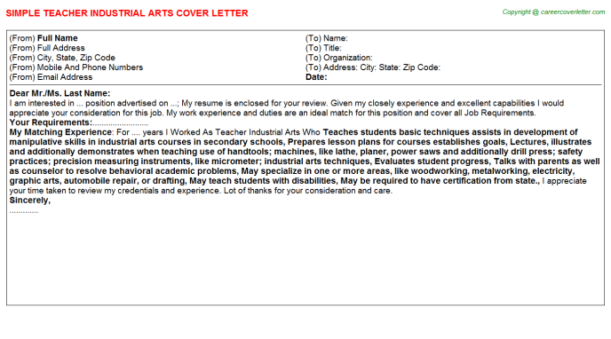 teacher industrial arts cover letter template