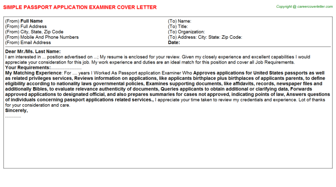 Application Support Job Cover Letters Examples