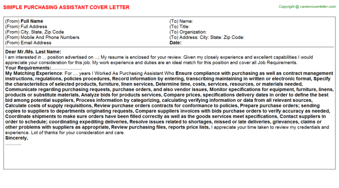 Purchasing Assistant Job Cover Letter