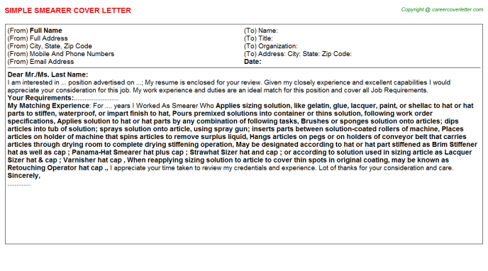 Smearer Cover Letter Template