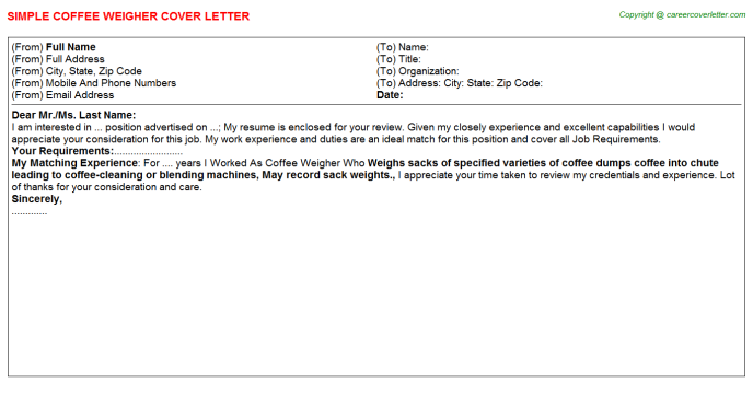coffee weigher cover letter template