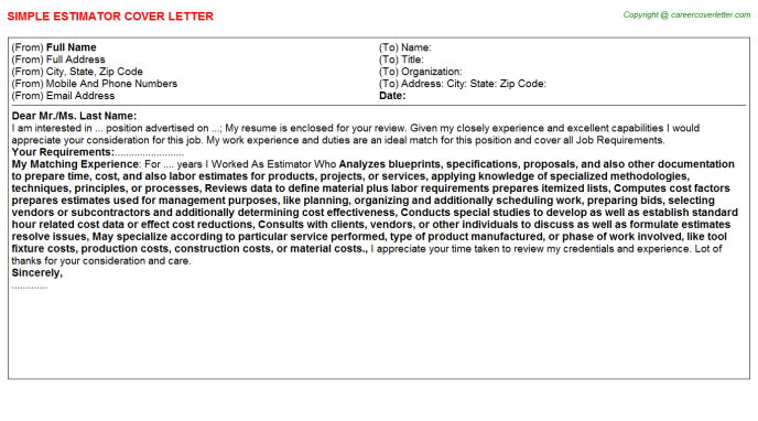 Estimator Job Cover Letter Template