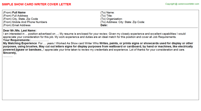 Show card Writer Cover Letter Template