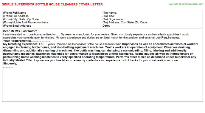 supervisor bottle house cleaners cover letter template