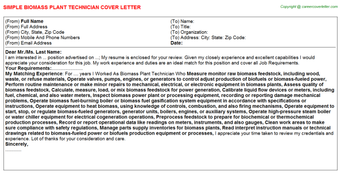 Biomass Plant Technician Cover Letter Template
