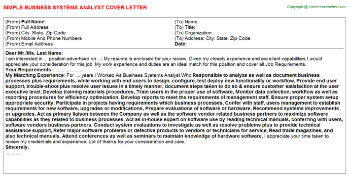 Business Systems Analyst Cover Letter Template