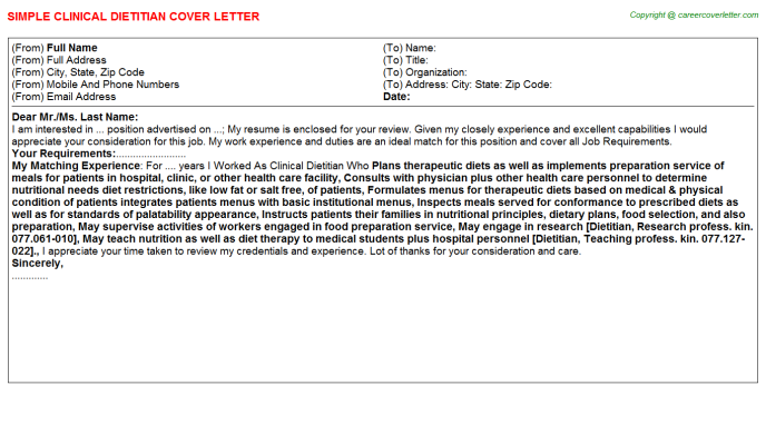 clinical dietitian job cover letter