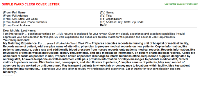 Ward Clerk Job Cover Letter