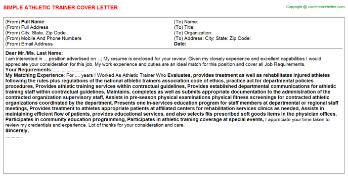 Athletic Trainer Cover Letter Template