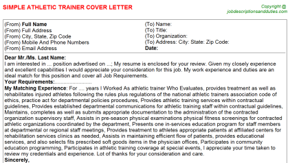 Athletic Trainer Job Cover Letter Template