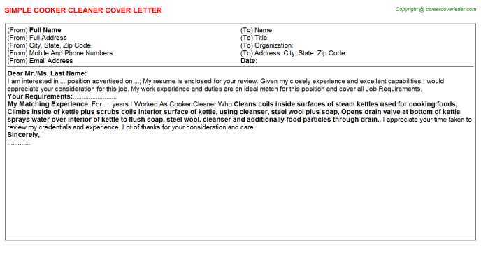 cooker cleaner cover letter template