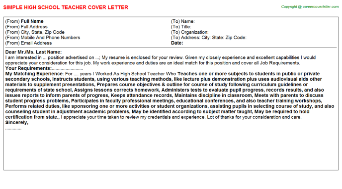 High School Teacher Cover Letter Template