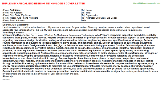 Mechanical Engineering Technologist Cover Letter Template