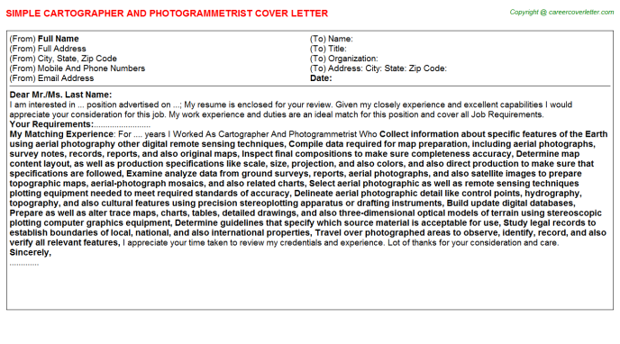 cartographer and photogrammetrist cover letter template