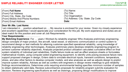Computer engineer resume cover letter reliability