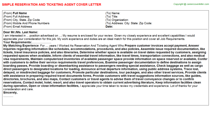 Reservation And Ticketing Agent Cover Letters