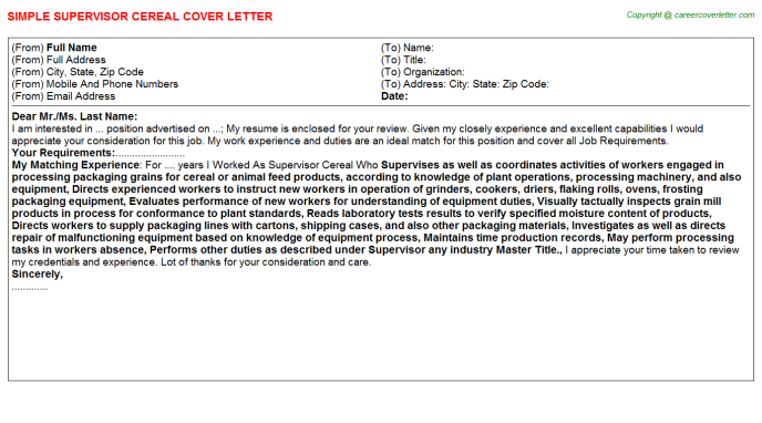 Supervisor Cereal Job Cover Letter Template
